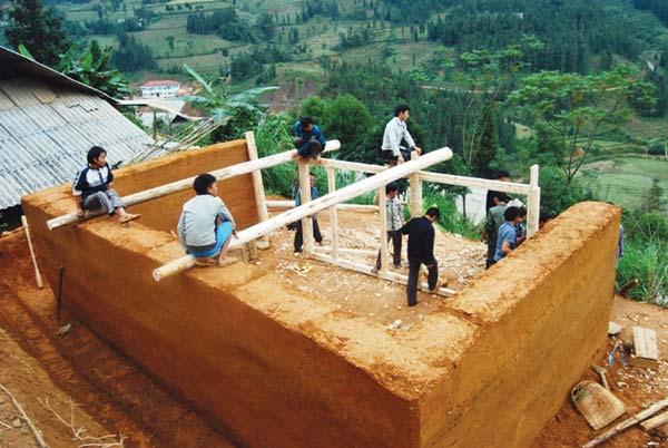 Maison en torchis des Hmongs